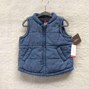 Tea Collection blue cotton chambray quilted vest